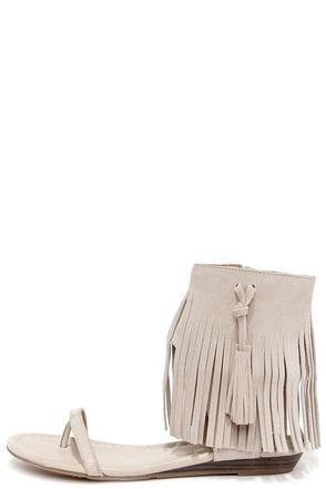 Very Volatile Lex Ice Grey Suede Leather Fringe Sandals at Lulus.com!