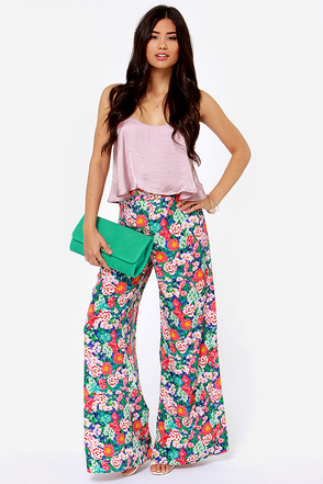 All Sy-Stems Go Pink Floral Print Wide-Leg Pants