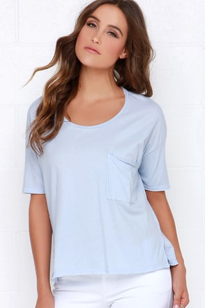 Look and Listen Light Blue Oversized Tee at Lulus.com!