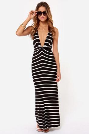 Stripe it Rich Ivory and Black Striped Maxi Dress at Lulus.com!
