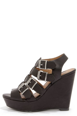 Madden Girl Kloverrr Black Buckled Wedge Sandals