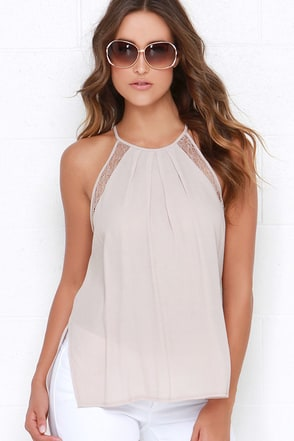 Fairest Creatures Light Taupe Lace Top at Lulus.com!