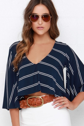 True North Ivory and Navy Blue Striped Crop Top at Lulus.com!