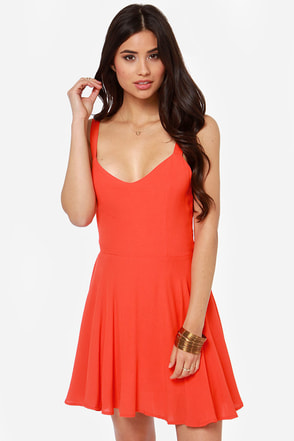 Rhythm My Tie Backless Red Orange Dress