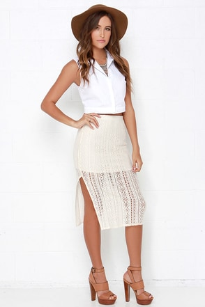 Billabong Lovers Sun Cream Crochet Midi Skirt at Lulus.com!