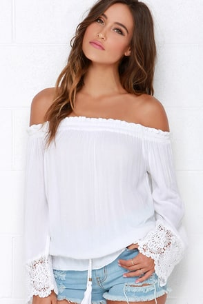 O'Neill Beau Ivory Off-the-Shoulder Top at Lulus.com!