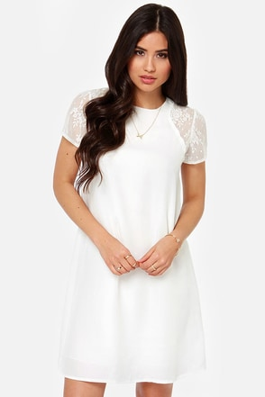 Airy Important Person Ivory Lace Dress at Lulus.com!