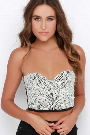 Take the Stage Black Pearl Bustier Top at Lulus.com!