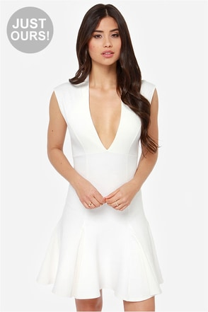 LULUS Exclusive Fine By Me Ivory Dress