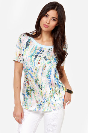Hues Me Blue Print Top