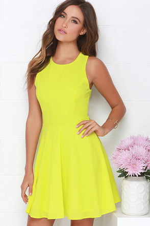Dee Elle At Ease Chartreuse Skater Dress at Lulus.com!