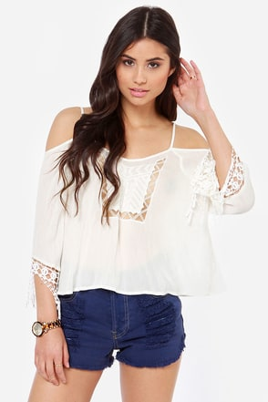 Fest Dressed Crochet Ivory Top