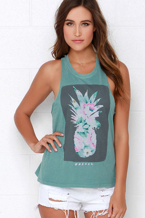 O'Neill Pineapple Portrait Sage Green Muscle Tee at Lulus.com!