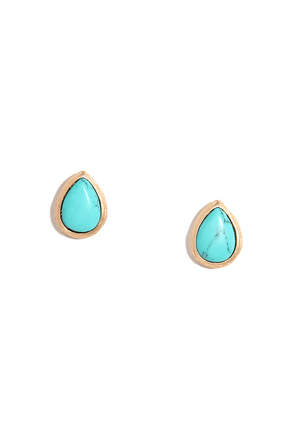 Palace Pillars Gold and Turquoise Earrings at Lulus.com!