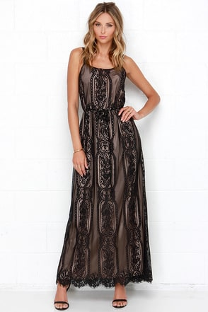 Palace Party Beige and Black Lace Maxi Dress at Lulus.com!