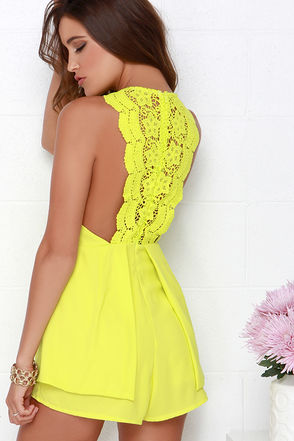 Bright Mind Chartreuse Lace Romper at Lulus.com!