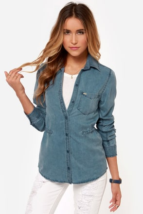 Obey Rayon St. Germaine Chambray Top