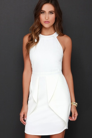 Hip Hype Ivory Halter Dress at Lulus.com!