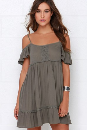 Others Follow Sun-Kissed Olive Green Lace Dress at Lulus.com!