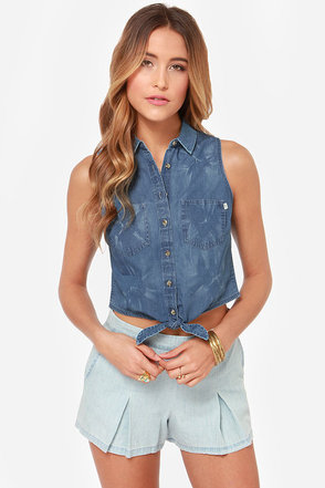 Obey Oliver Sleeveless Chambray Top