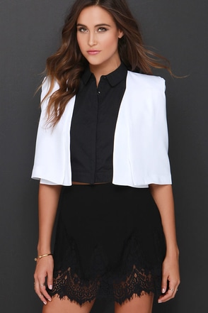 Proper Education White Cropped Jacket at Lulus.com!