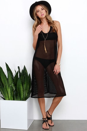Sea for Miles Black Mesh Cover-Up at Lulus.com!