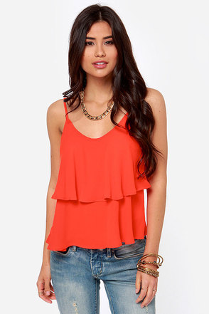 Lend Me Your Tiers Orange Red Tank Top
