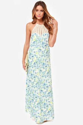 Lovers Friends Mahalo Blue Floral Print Dress Maxi