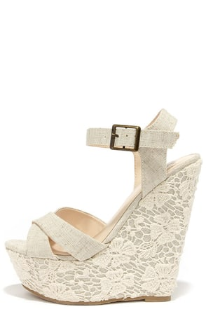 Romantic Notions Beige Linen Lace Wedges at Lulus.com!