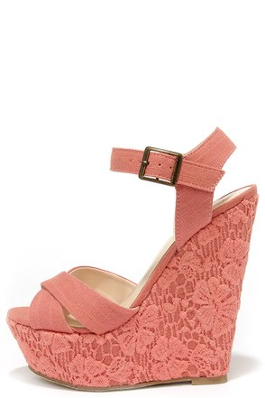 Romantic Notions Coral Linen Lace Wedges at Lulus.com!