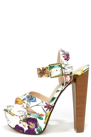 State Your Fame White Floral Platform Heels at Lulus.com!