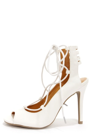 Shoe Republic LA Helice White Lace-Up High Heels