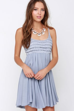 O'Neill Kinley Light Grey Crochet Dress at Lulus.com!