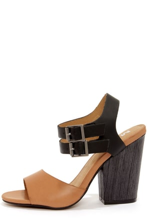 Mia Norway Nude and Black High Heel Sandals