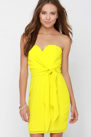 Side of the Story Chartreuse Strapless Dress at Lulus.com!