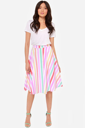 Fruit Stripes Fun Striped Midi Skirt