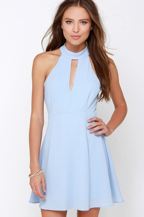 Halter At Ya Periwinkle Dress at Lulus.com!