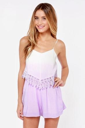 Cute Lavender Romper Lace Romper Ombre Romper 48 00