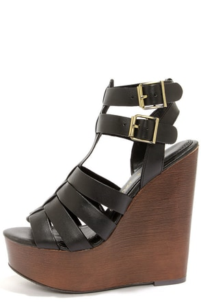 Chinese Laundry Jump Drive Black Wedge Sandals