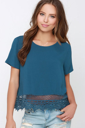 Dream Team Slate Blue Lace Top at Lulus.com!