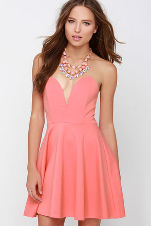 Always Sunny Coral Strapless Skater Dress at Lulus.com!