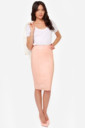 Midi Madness Peach Midi Skirt