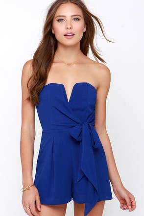 Tie it all Together Royal Blue Romper at Lulus.com!