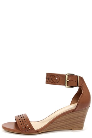 Chinese Laundry Tiffanie Rich Brown Cutout Wedge Sandals