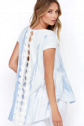 Morning Mist Light Blue Tie-Dye Lace Top at Lulus.com!