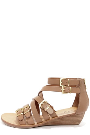 Kelsi Dagger Arlington Almond Leather Gladiator Sandals