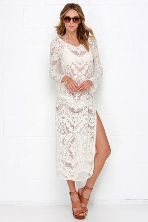 Cassiopeia Cream Lace Cover-Up at Lulus.com!
