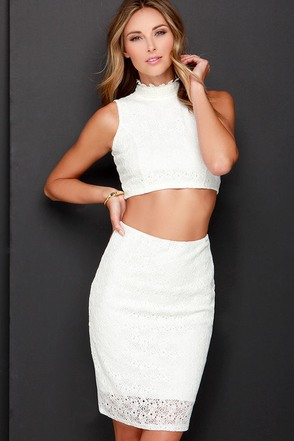 Hey Babe Ivory Lace Two-Piece Dress at Lulus.com!