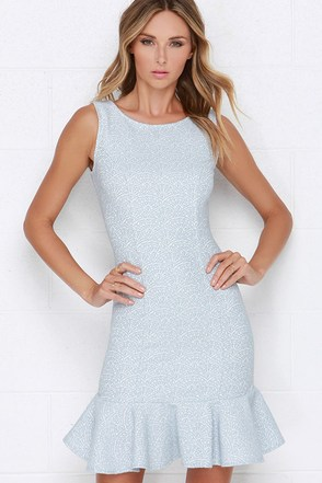Darling Jaime Light Blue Jacquard Dress at Lulus.com!