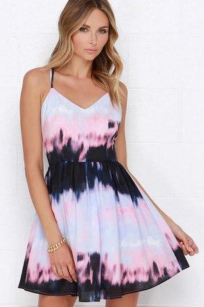 BB Dakota Zuzu Pink and Periwinkle Print Dress at Lulus.com!